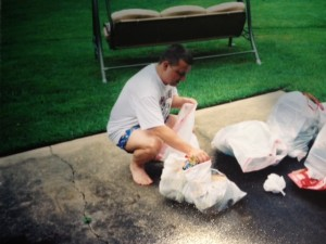 Here I am doing my best raccoon impression as I dig through the garbage.