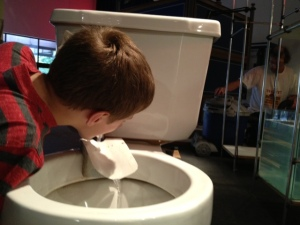 Sure, my son may only be drinking from a toilet now, but someday he plans to own the world.