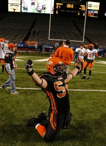 One of my favorite moments - a Nashville player celebrates a state title following a controversial win with the scoreboard telling the story in the background in 2006.