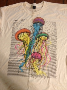 My newest, and right now most favortiest, t-shirt. This is a Tame Impala shirt that I got at their concert in Dalls.
