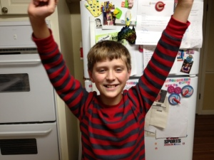 My son celebrates finishing his most recent blog post (well, he celebrated something, anyway).
