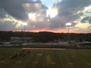 "This was my view from the pressbox on Friday night. If it had been my ""last"" sunset,"" it would have been hard to have asked for a better one."
