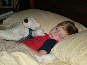 My son sleeping when he was younger. Today he sleeps just as peacefully.