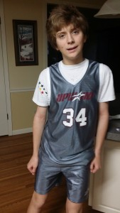 My son, just before his final game of Upward Basketball
